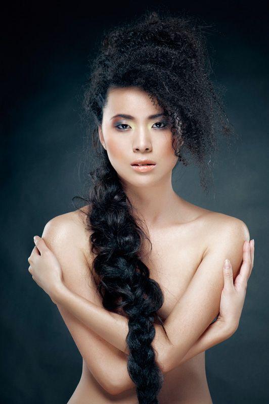 Hair, extensions, model, Asian, semi-nude, skin, makeup ...