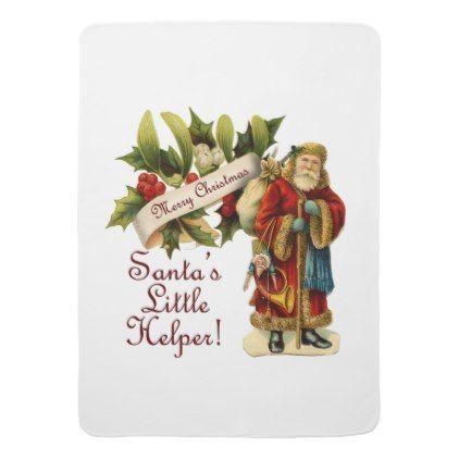 Santa's Little Helper! w/ Vintage Victorian Santa Stroller Blanket - vintage merry gifts custom diy idea