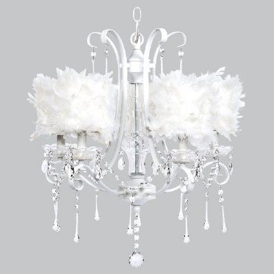 White Colleen Chandelier With White Feathers Shades