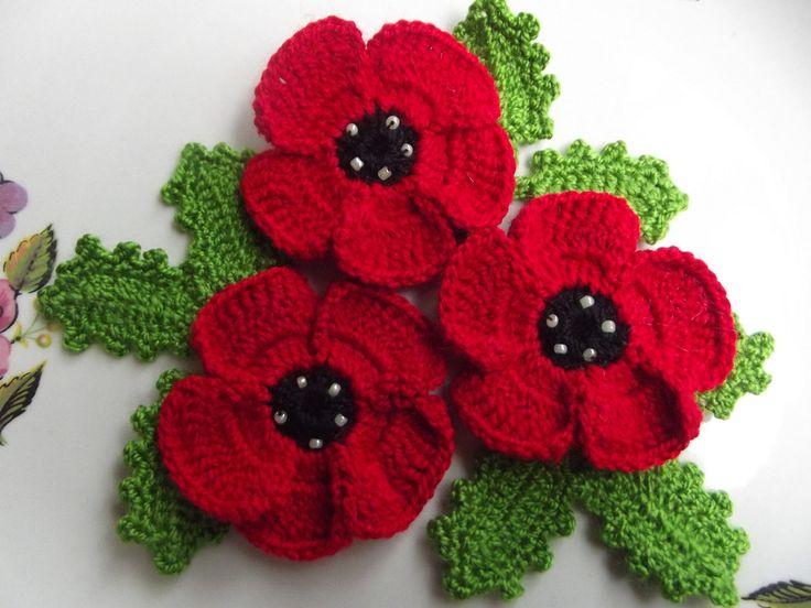 Free Crochet Pattern For Poppy Flower : Poppies, Inspiration and Crochet on Pinterest