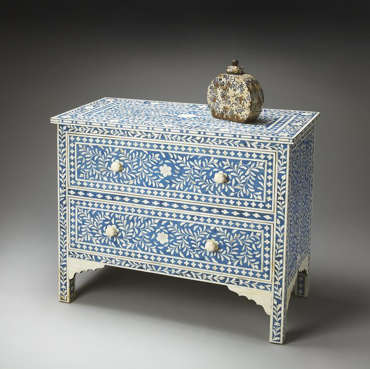 Handcrafted Blue / White Bone Inlay Heritage Chest