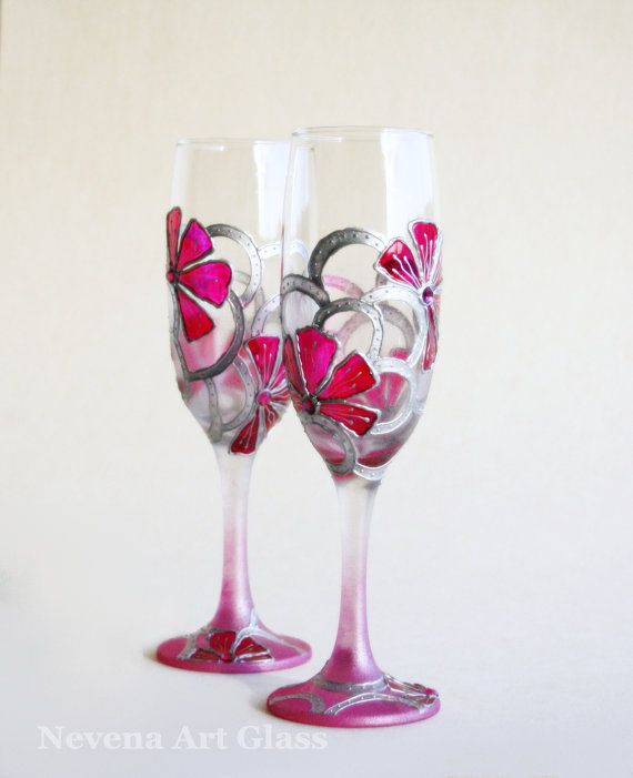 Wedding Glasses Hand Painted Toasting Flutes by NevenaArtGlass, $48.00