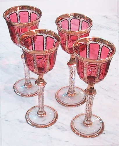 Moser :: Pink and Gold Crystal Stemware.  No, I didn't make these.  We have a set.  From somewhere in Eastern Europe, 40 years ago...