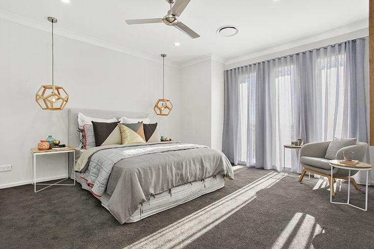 Master bedroom. Main bedroom. Pendant lights. Grey. Timber.