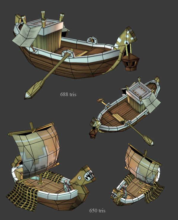 Babylonian transport and fishing boats, by 3d Artist Ryan Sharr, Gas Powered Games