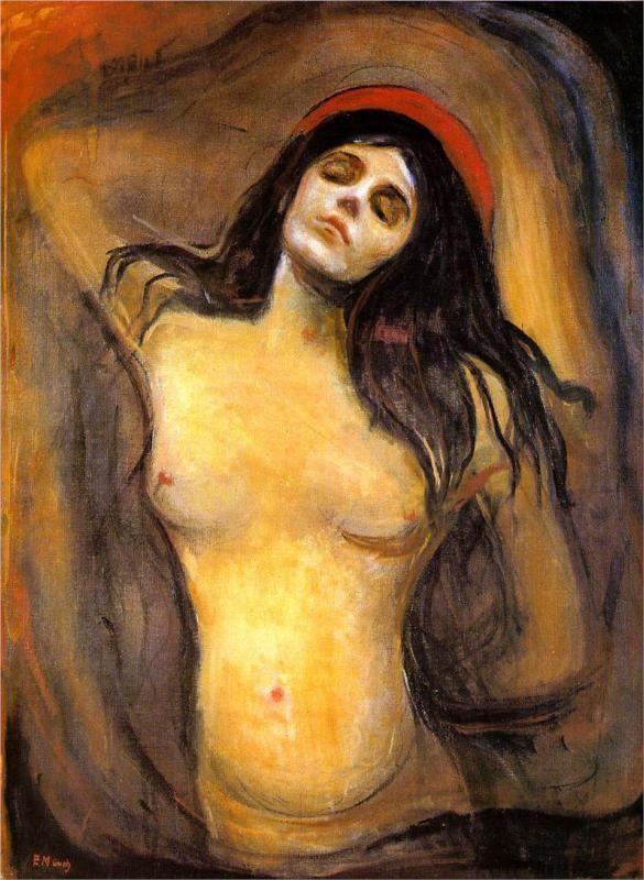 Edvard Munch (Norwegian 1863–1944) [Expressionism, Symbolism] Madonna, 1894.