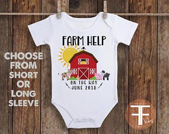 Farm Help Onesie, Pregnancy Reveal Onesie, Pregnancy Reveal to Husband, Pregnancy Reveal to Grandparents, Pregnancy Announcement Onesies