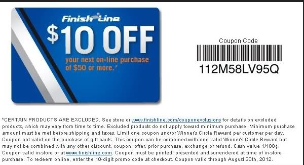 Get $10 off $50 or more Use Finish Line Coupon 112M58LV95Q In-store: In-store Printable Finish Line Coupon
