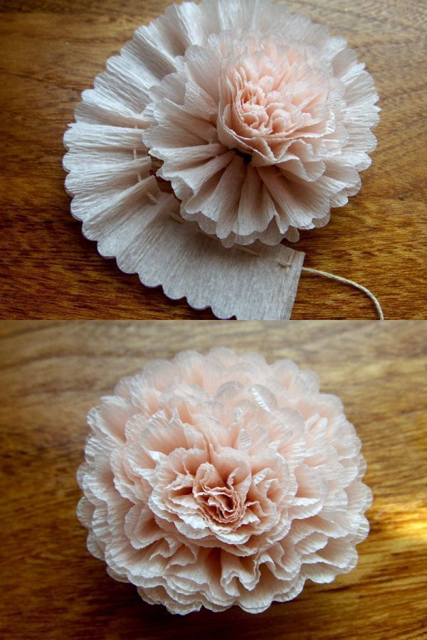 A crepe paper flower. There are also some picture tutorials for fabric flowers and a few kinds of bows on this page