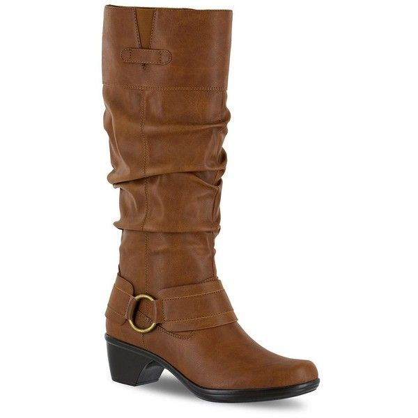 Easy Street Jayda Women's Riding Boots ($90) ❤ liked on Polyvore featuring shoes, boots, dark brown, dark brown riding boots, round toe boots, knee high slouch boots, harness boots and wide calf riding boots