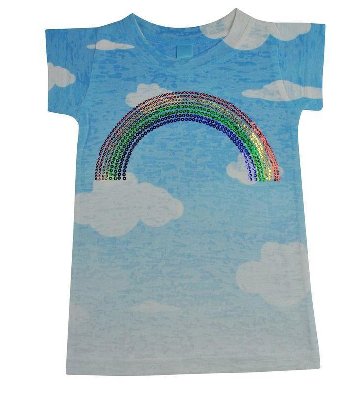 Stella Blu Clothing Girls Sparkle Rainbow Tee