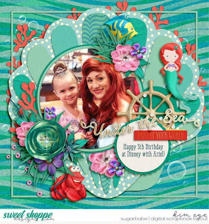 Digital Scrapbook Layout using Singleton 46 - Salty Shell template by Brook Magee and #believeinmagic : mermaid dreams collection by Studio Flergs and Amber Shaw