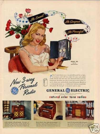 General Electric Radio Ad Model 140 1947 Vintage