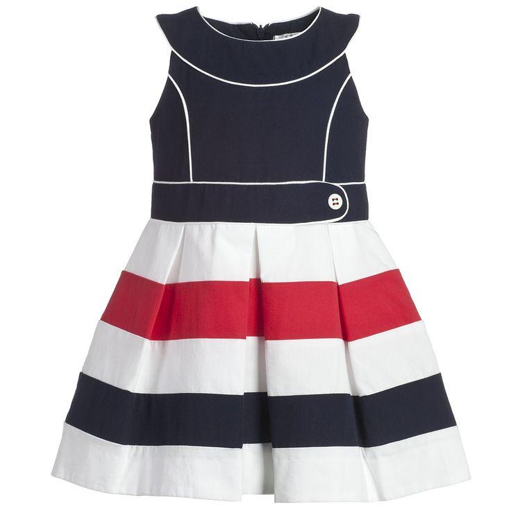 Navy Blue Nautical Cotton Dress - Girl | Childrensalon