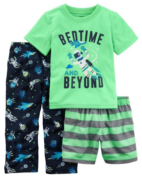 Baby Boy 3-Piece Glow-In-The-Dark Jersey PJs from Carters.com. Shop clothing & accessories from a trusted name in kids, toddlers, and baby clothes.