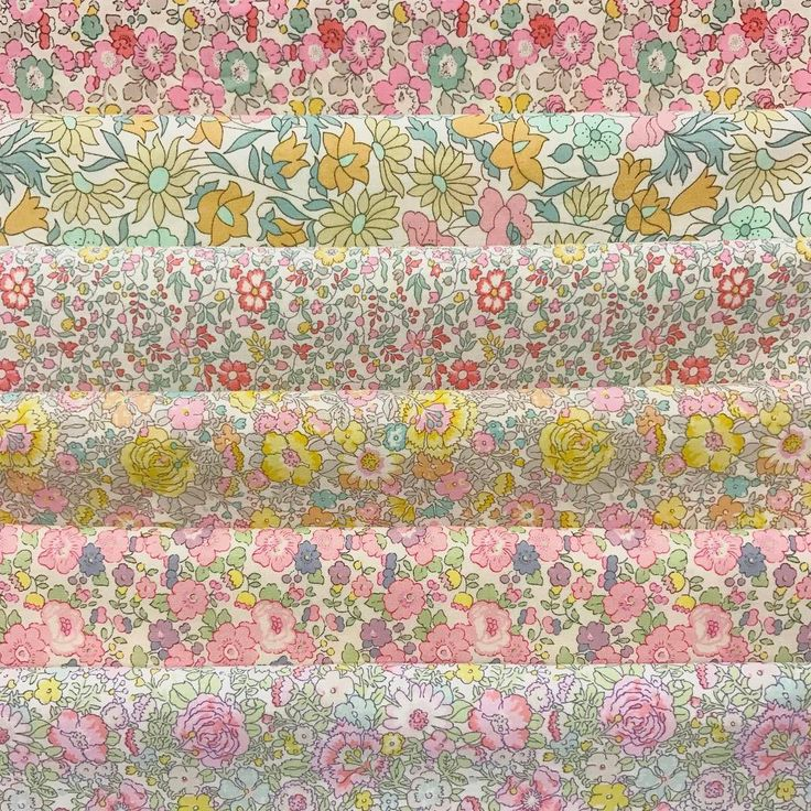 Gorgeous little selection by one of our clever customers!  Betsy Ann D Poppy & Daisy H Katie & Millie B Amelie B Betsy Ann P Amelie C . . . . #thestrawberrythief#libertyfabric#libertytanalawn#libertyartfabrics#loveliberty#fabric#sewing#crafty#libertyclassics#pink#rainbow#colour#quilt#patchwork#quilting#bundle#pink#peach#yellow#flowers#floral