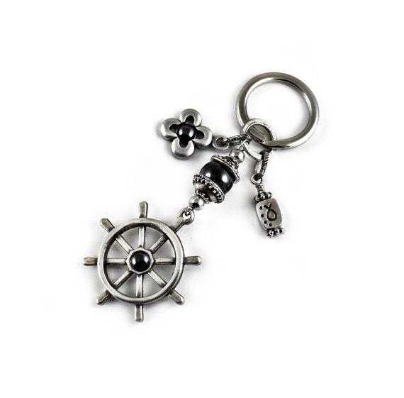 Nautische Schlüsselbund Schiff-Rad Keychain von sunnybeadsbythesea