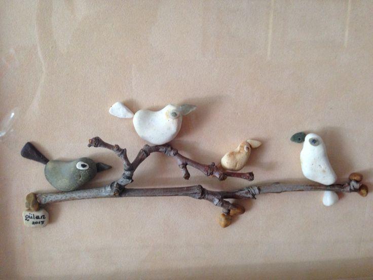 Pebble art birds gülen