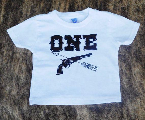 Baby Boy 1st Birthday Shirt, Cowboys and Indians Birthday, Revolver and Arrow Birthday