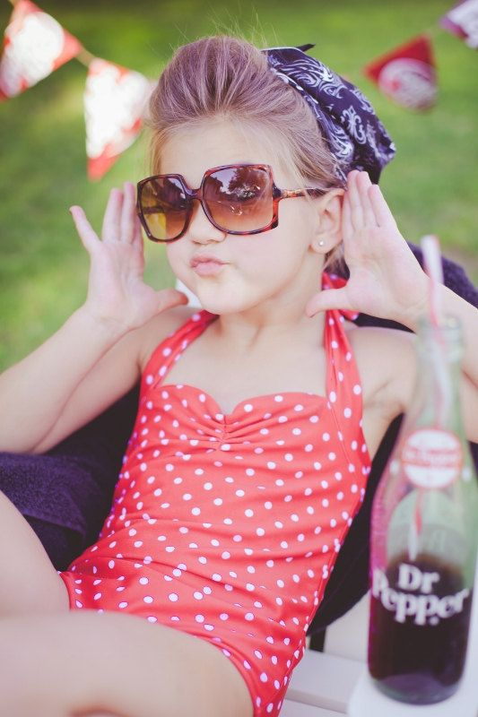 Too cute and I have one to match! Red and white polka dot Retro one piece girls by RedDollyGirls, $38.00
