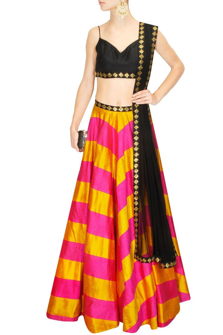 Hot pink and yellow sequins embroidered lehenga set by PRIYAL PRAKASH #PriyalPrakash #DesignerLehenga #Chevron