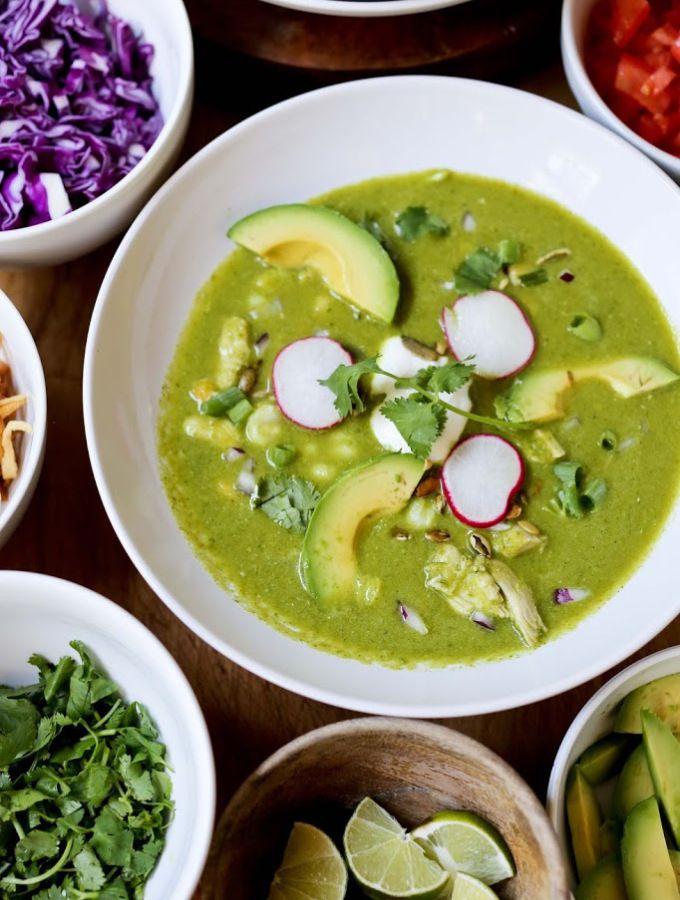 Mexican Posole Verde Soup | www.feastingathome.com