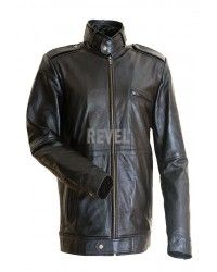 Brentwood Black Leather Motorcycle Jacket for men