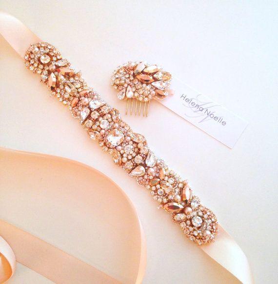 Rose Gold and Blush Crystal Bridal Belt- Custom- Swarovski Crystal Bridal Sash- One-of-a-Kind Hand-Beaded -Vintage Glamour