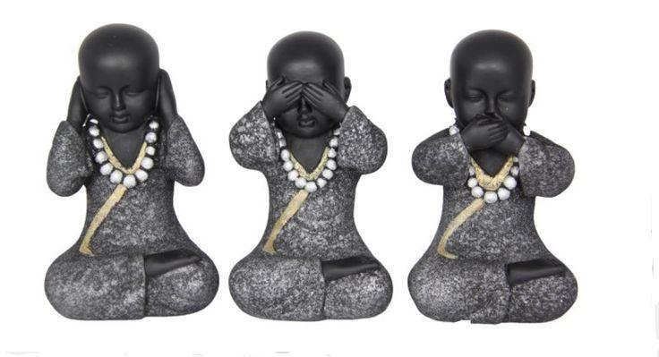 Set of 3 Buddhas - 14cm Stone Finish 3 Wise Monk Statue Ornaments