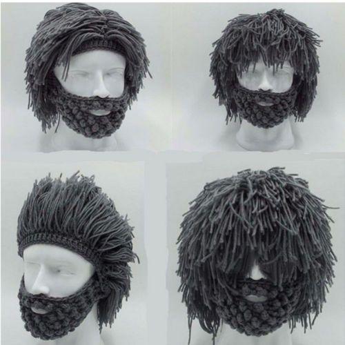 Best-Grey-Warm-Beard-Hat-Barbarian-Looter-Crochet-Beanie-Cap-Schnurrbart-Cosplay