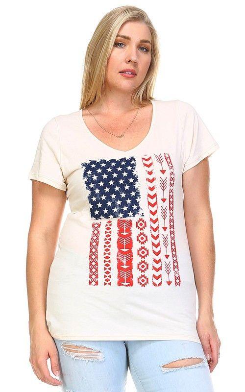 Plus Size Vintage American Flag T-Shirt