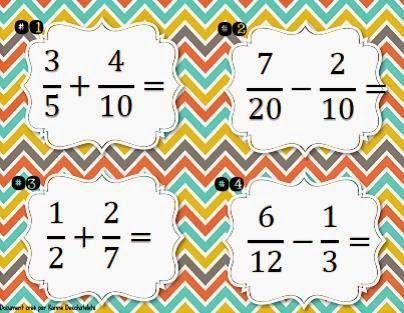 La classe de Karine: Additions et soustractions de fractions