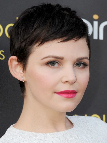 """Mini bangs make a pixie cut, like Ginnifer Goodwin's, appear """"more ingénue and gamine,"""" says Garren. They also slim a round face and make a small forehead appear longer."""