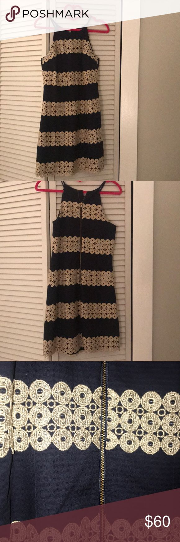 Lilly Pulitzer Navy and Gold Dress Lilly Pulitzer Navy and Gold Dress. Never worn! Lilly Pulitzer Dresses Mini