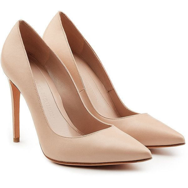Alexander McQueen Leather Pump (£260) ❤ liked on Polyvore featuring shoes, pumps, heels, обувь, beige, pointy toe stiletto pumps, stiletto heel shoes, pointed toe stilettos, leather pumps and alexander mcqueen shoes