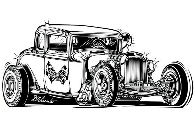 Hot rod drawing tag robert williams jpblogauto la passion automobile vw bug dessin - Cars coloriage voitures ...