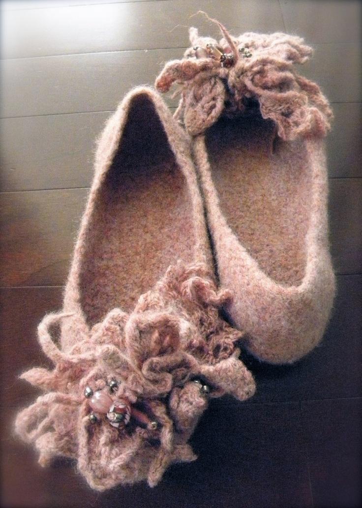Dusty Rose Wool Felted Slippers,crochet slippers for woman,felted slippers, wool crochet shoes,eco friendly. $89.00, via Etsy.
