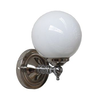 Traditional Chrome Wall Light with Translucent Globe Shade