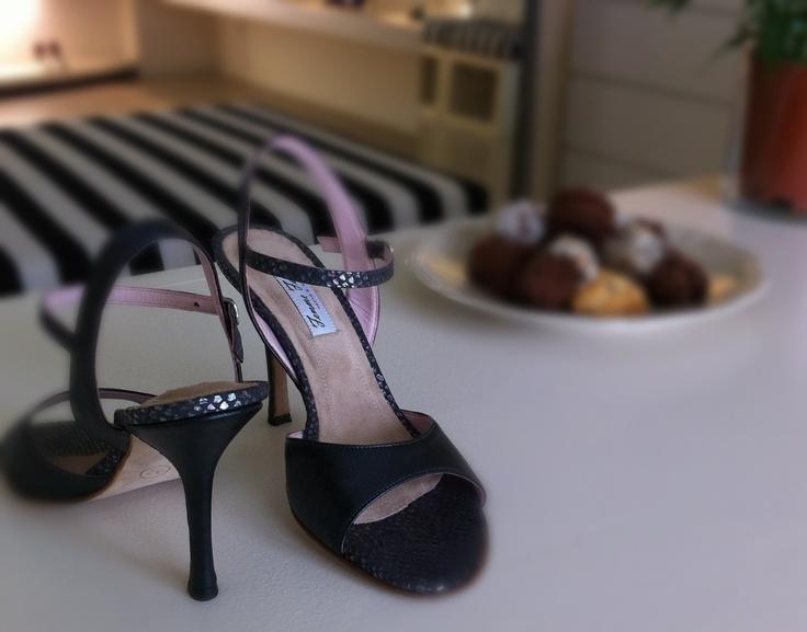 Gray tango shoes