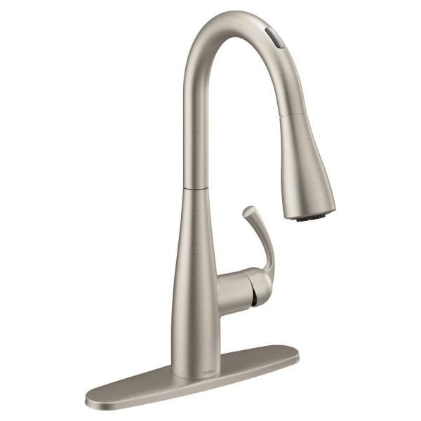 Moen Essie Touchless 1 Handle Pull Down Sprayer Kitchen Faucet With Motionsense Wave And Power Clean In Spot Resist Stainless 87014ewsrs The Home Depot Faucet Kitchen Faucet Moen