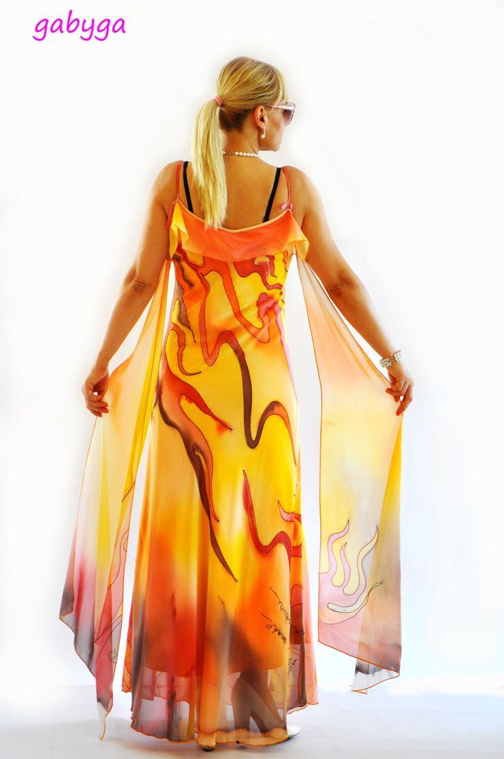 Hand painted Long Chiffon dress/Painting chiffon/Evening dress/Prom dress/Bridesmaid chiffon Maxi dress/Long dress/Orange party  dress/D1420 by Gabygaclothes on Etsy https://www.etsy.com/listing/227186014/hand-painted-long-chiffon-dresspainting