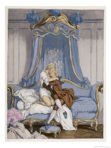 Giovanni Giacomo Casanova Chevalier de Saingalt, with the Young Comtesse at Venice Giclee Print by Auguste Leroux at Art.com