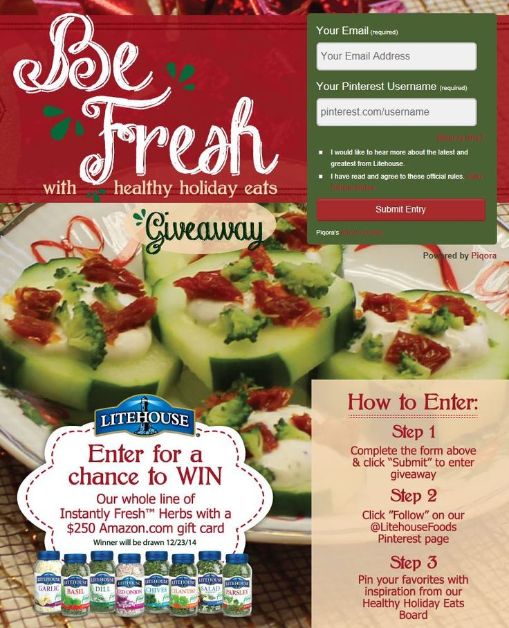 Enter our #healthyholidayeats Sweepstakes for your chance to win $250 and a complete line of Litehouse Instantly Fresh Herbs!