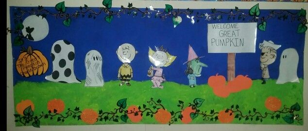 It's the great pumpkin Charlie brown my Bulletin board for this Halloween.