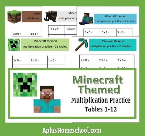 Aplus Homeschool Blog - Homeschool Resources (Free 1 Month, Worksheets, Giveaway and more...) , : Minecraft Math: Multiplication Tables 1 - 12