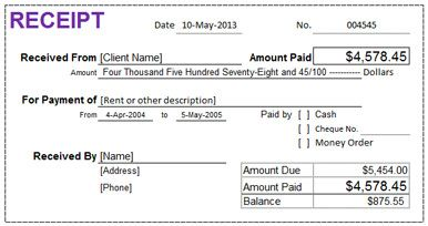 excel rental receipt rent receipt template pinterest templates. Black Bedroom Furniture Sets. Home Design Ideas