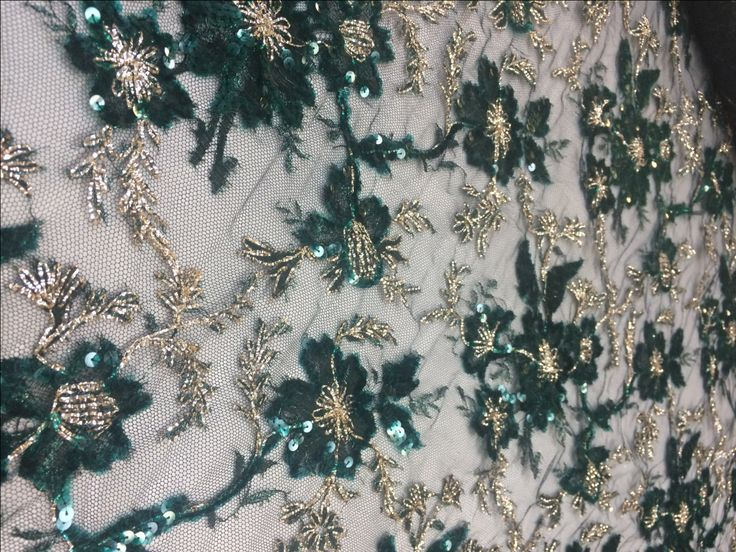 Emerald Beaded Chantilly lace with Gold Metallic Threading, green eyelash lace fabric, green lace fabric, fabric by yard by SupremeFabrics on Etsy https://www.etsy.com/listing/252831791/emerald-beaded-chantilly-lace-with-gold
