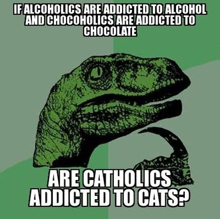 Cat - If alcoholics are addicted to alcohol and chocoholics are addicted to chocolate, are catholics addicted to cats?