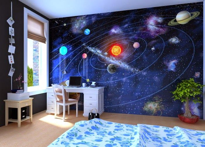 Outer Space wall cover or outer space light that goes around the room.