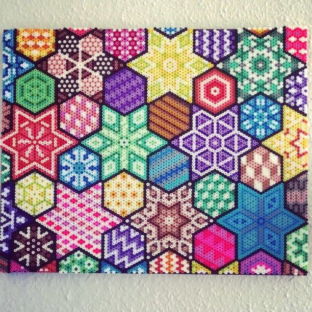 Colorful hama perler wall art by Sofie Damgaard Vindum